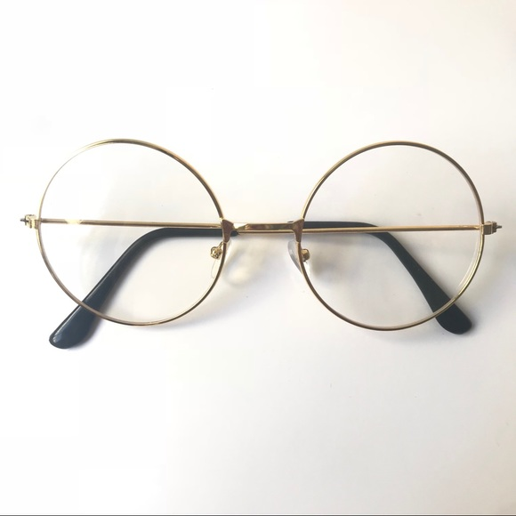 173eb65132526 Gold Nerdy Round Circle Fashion Glasses